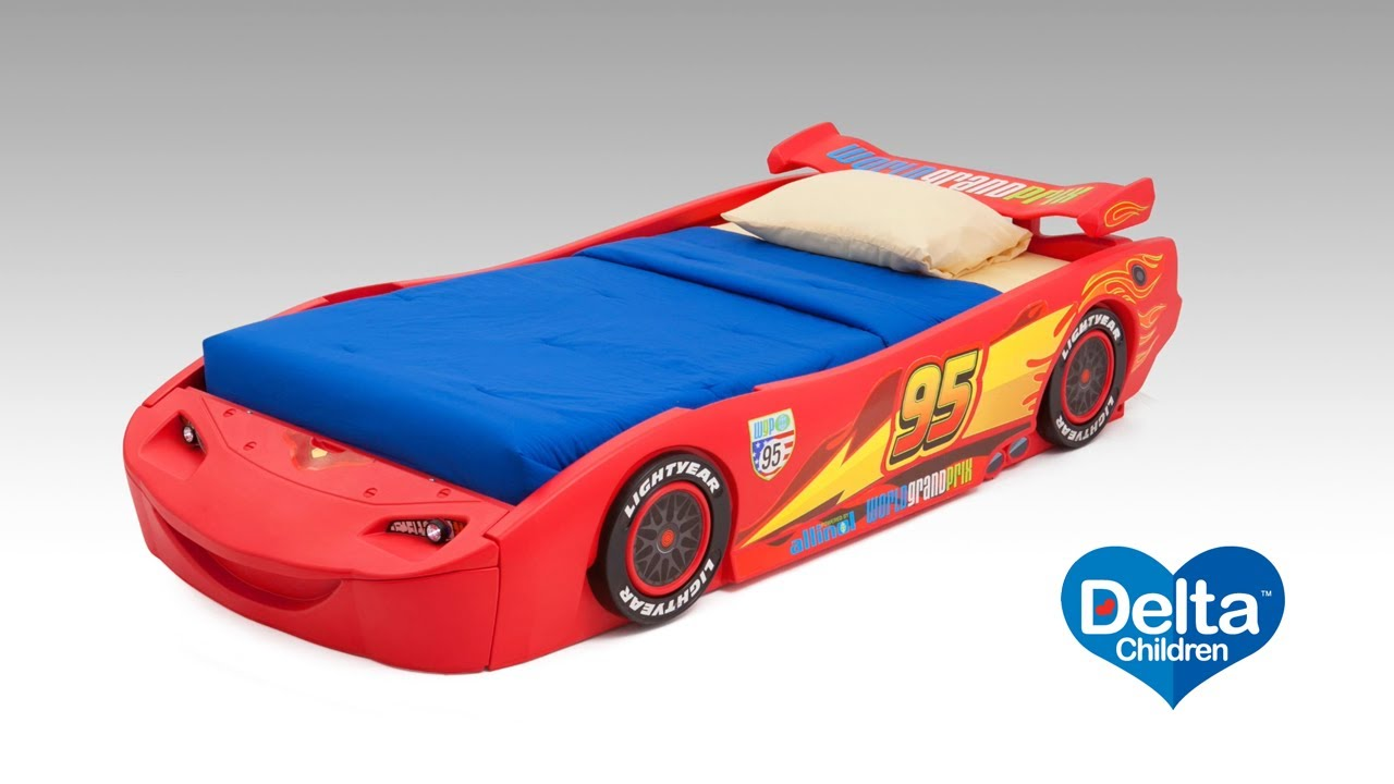 Disney Pixar Cars Twin Bed with Lights  sc 1 st  YouTube & Disney Pixar Cars Twin Bed with Lights - YouTube