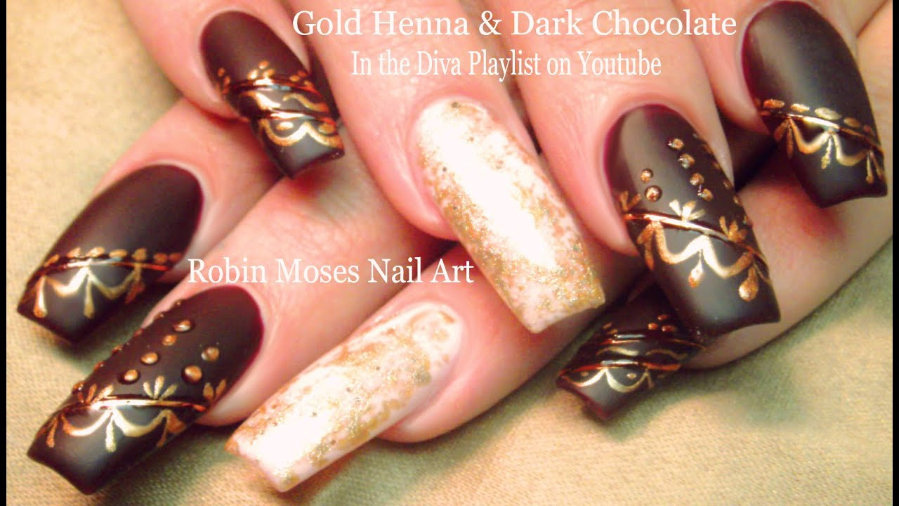 DIY Diva Nails! Fall Henna Long Nail Art Design Tutorial - YouTube