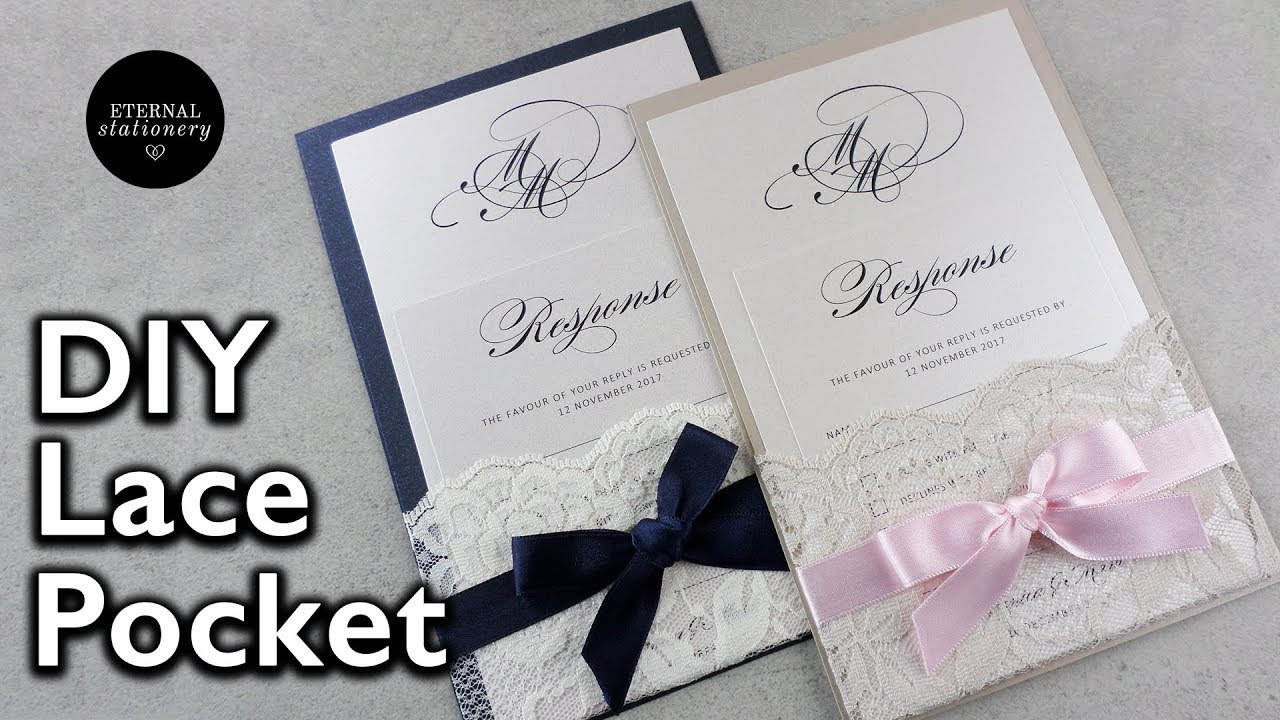 How to make your own lace pocket wedding invitations | Easy DIY ...