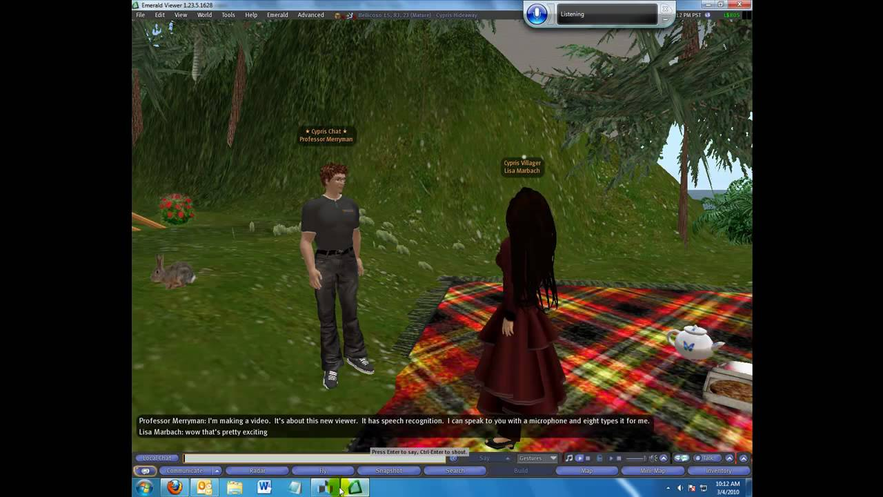 Second Life Speech Recognition and Chat Bot