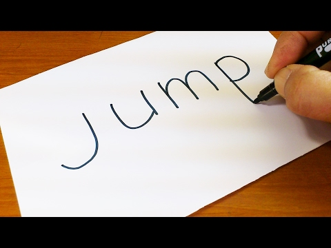 Very Easy ! How to turn words JUMP into a Cartoon - art on paper for kids