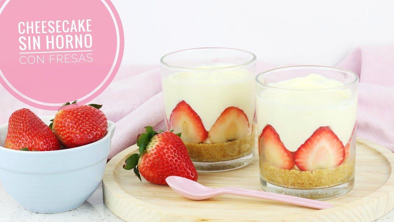 Cheesecake sin horno con Fresas
