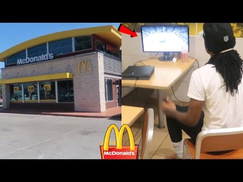 PLAYING NBA 2K18 IN MCDONALDS (KICKED OUT)