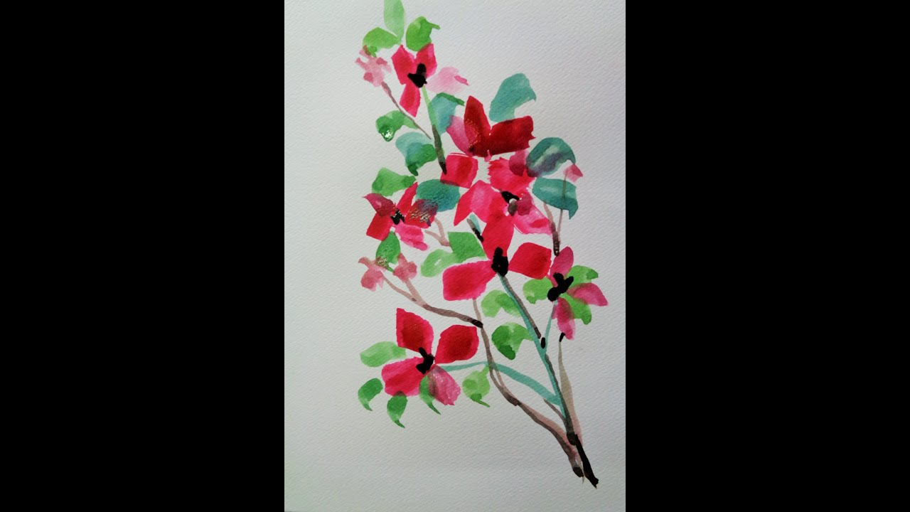 How To Draw A Flowers Using Watercolor - YouTube