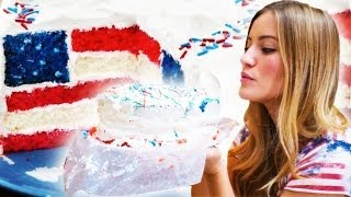 How To Bake An American Flag Cake | Ijustine Cooking