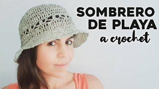 SOMBRERO FACIL A CROCHET ☀️⛱ cómo tejer un sombrero de playa a ganchillo, tutorial paso a paso