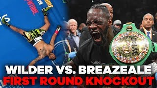 "Wilder (41-0-1, 40 KOs) added yet another violent finish to his career highlight reel with a brutal one-punch knockout in just 2 minutes and 17 seconds of Round 1. Wilder, 33, made the ninth defense of the WBC title he originally captured in 2015.  Breazeale (20-2, 18 KOs), who appeared to be knocked out cold as he laid spread eagle, began to come to his senses near the end of referee Harvey Dock's count. The native of California, who is nicknamed ""Trouble,"" rose to his feet shortly before the count of 10, but Dock waved off the fight after looking into his eyes.  #WilderBreazeale #BronzeBomber #HeavyweightBoxing #DeontayWilder #Knockout  SUBSCRIBE TO OUR CHANNEL: https://www.youtube.com/user/CBSSports   FOLLOW US ON: Facebook - https://www.facebook.com/CBSSports/ Instagram - https://www.instagram.com/cbssports/ Twitter - https://twitter.com/CBSSports"
