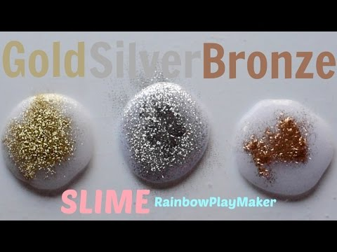 GOLD SILVER & BRONZE GLITTER SLIME ♥ How to make Tutorial POKING Video