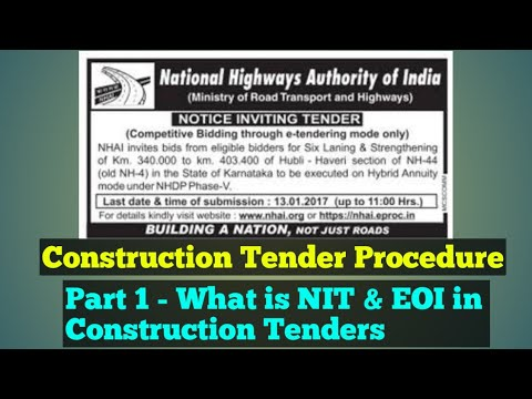 Construction Tender / Contract's Fiscal Aspects - Part 1 NIT