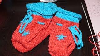 Вязание спицами пинеток с закрученным верхом  ///   Knitting pinetok with a twisted top