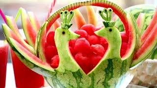 How To Make Watermelon Peacocks - Fruit and Vegetable Carving Garnish - Food Art - Party Decoration