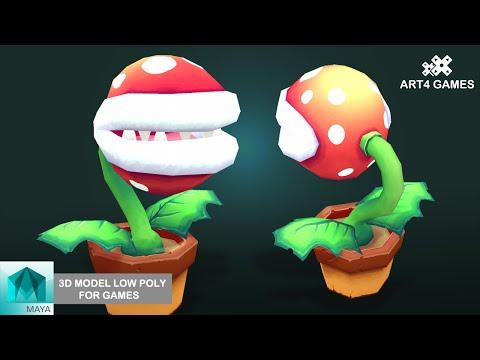 3D modeling low-poly Piranha Plant Mario kart 8 with Maya 2014
