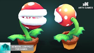 3D modeling low-poly Piranha Plant Mario kart 8 with Maya 2014