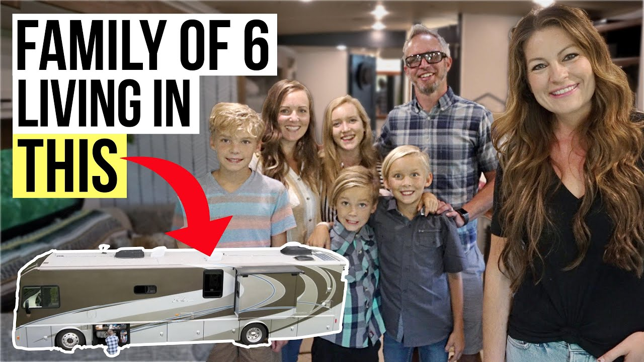 HOW A FAMILY OF 6 LIVES FULL-TIME IN A MOTORHOME // RV Tour