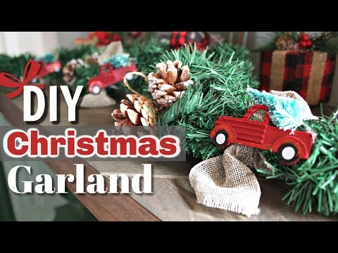 DIY Rustic Christmas Decor   Red Truck Christmas Decor DIY   DIY Christmas Garland   KraftsbyKatelyn