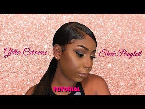 Glitter Cut Crease | Sleek Ponytail Tutorial !!