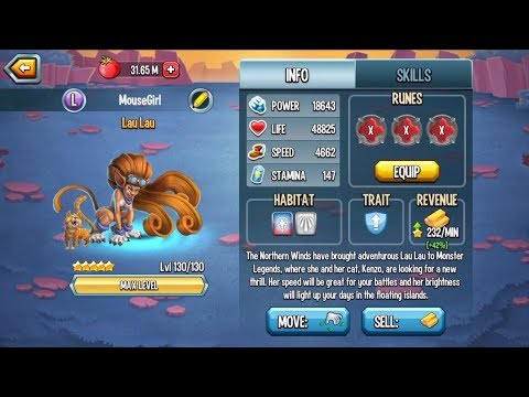 Monster Legends - Lau Lau level 1-130 combat arena review offer