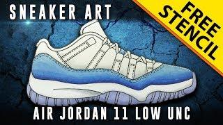 Sneaker Art: Air Jordan 11 Low UNC w/ Downloadable Stencil