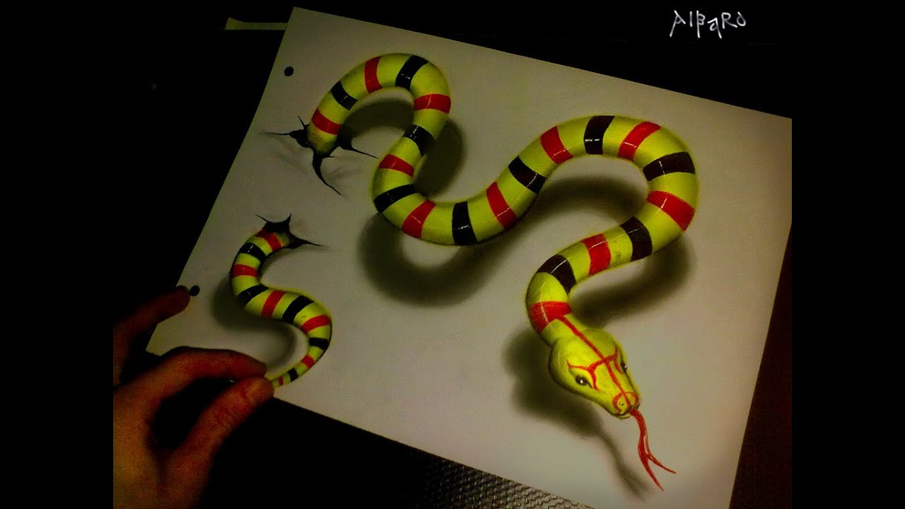 Realistic 3D Drawing Green Snake Time Lapse - YouTube