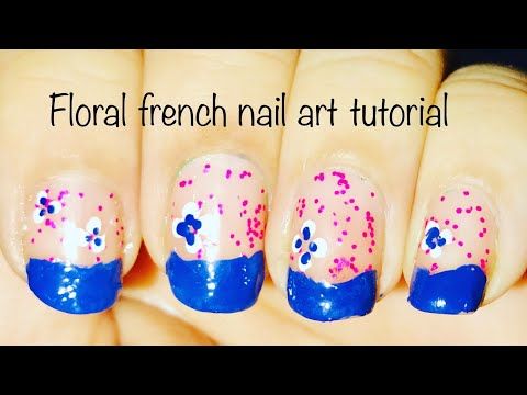 Floral french nail art design tutorial ! Cherry blossom 🌸 effects ! Simple Step by step nail art ! thumbnail