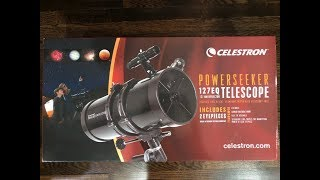 Celestron Powerseeker 127 EQ Telescope unboxing and review (ENTRY LEVEL TELESCOPE!)