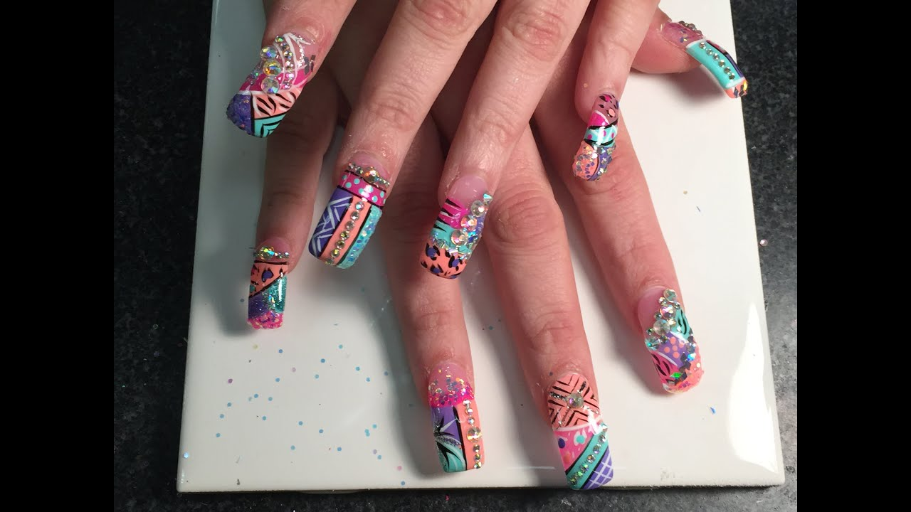 Super Long Acrylic Nails with Exotic Nails Design 2015