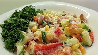Салат с копченой куриной грудкой и кукурузой