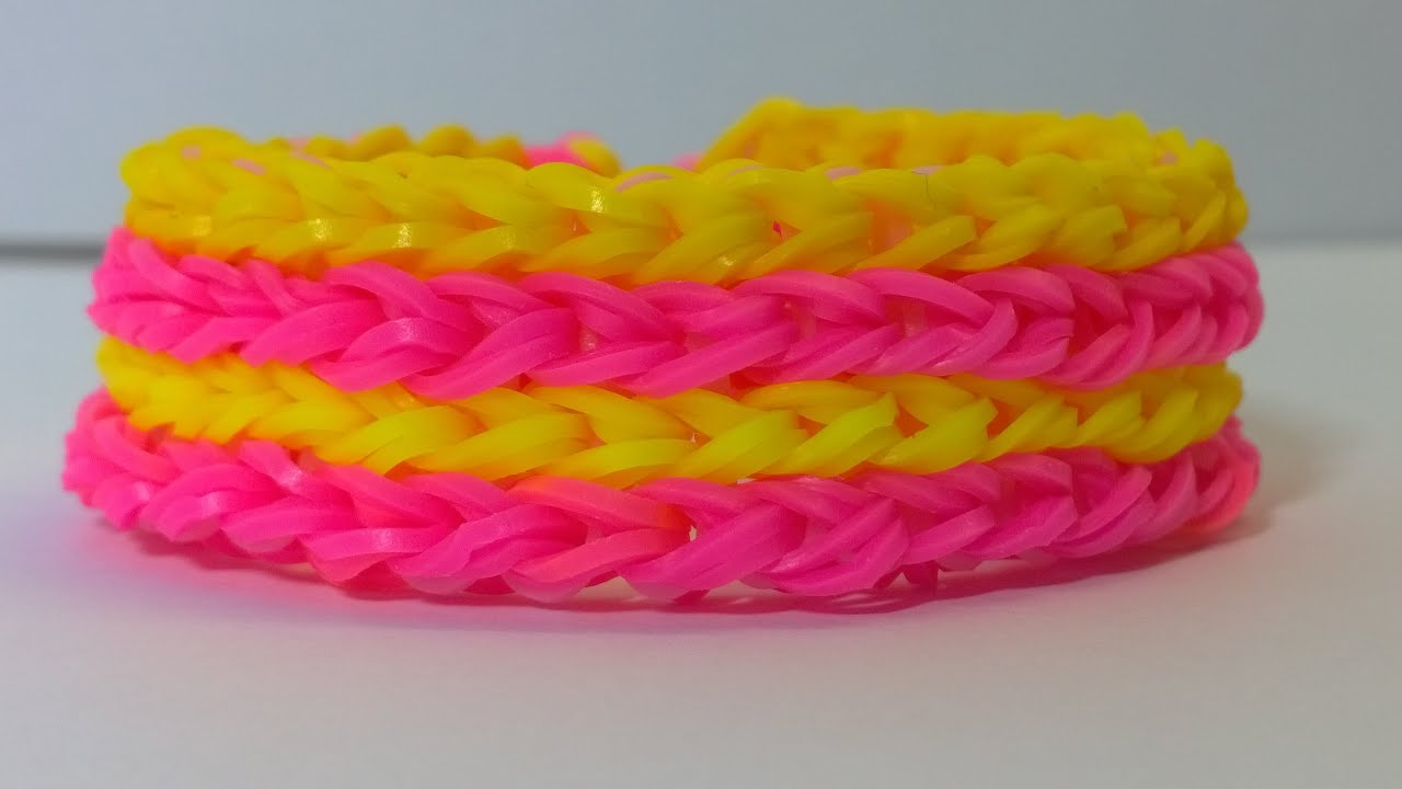 Rainbow Loom Four Row Bracelet With Two Forks Loom Bands