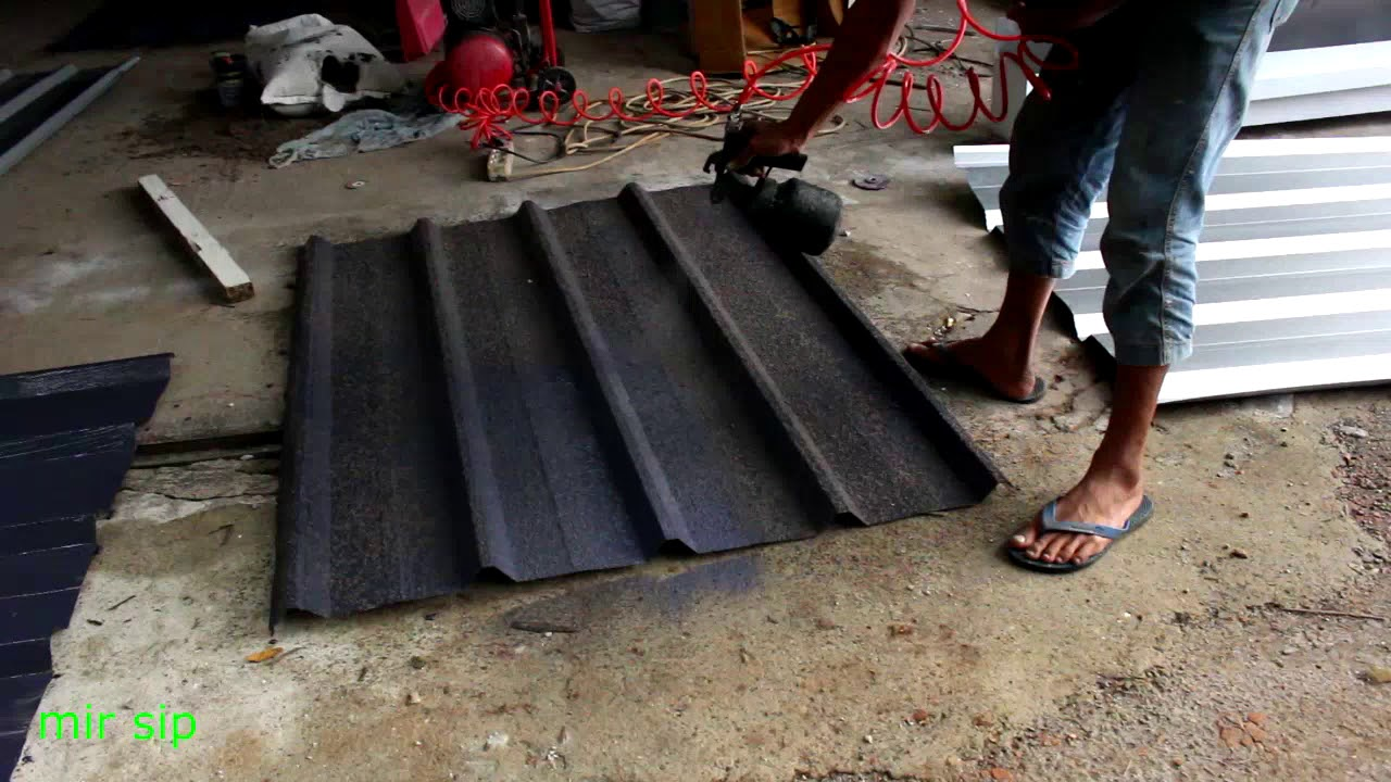 Harga Atap Baja Ringan Lapis Pasir Cara Bikin Sepandeck Zincalume Berpasir How To Make Sand Spandeck