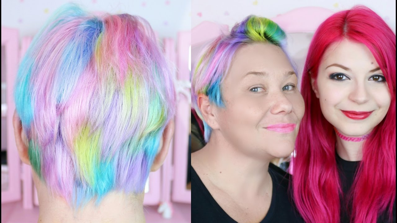 pastel rainbow hair short