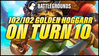 102/102 Golden Hogger on Turn 10 | Dogdog Hearthstone Battlegrounds