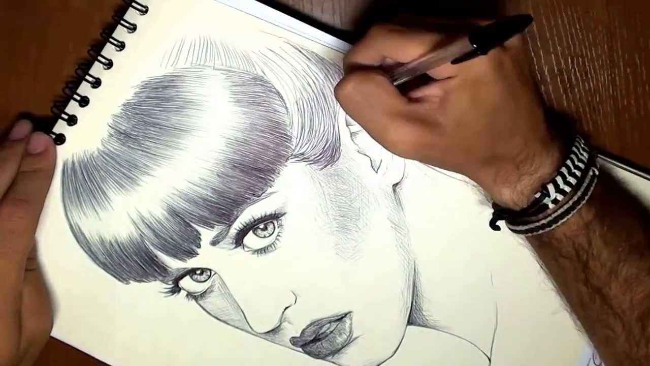 Cómo dibujar a Katy Perry en 3 minutos timelapse (How to draw Katy ...