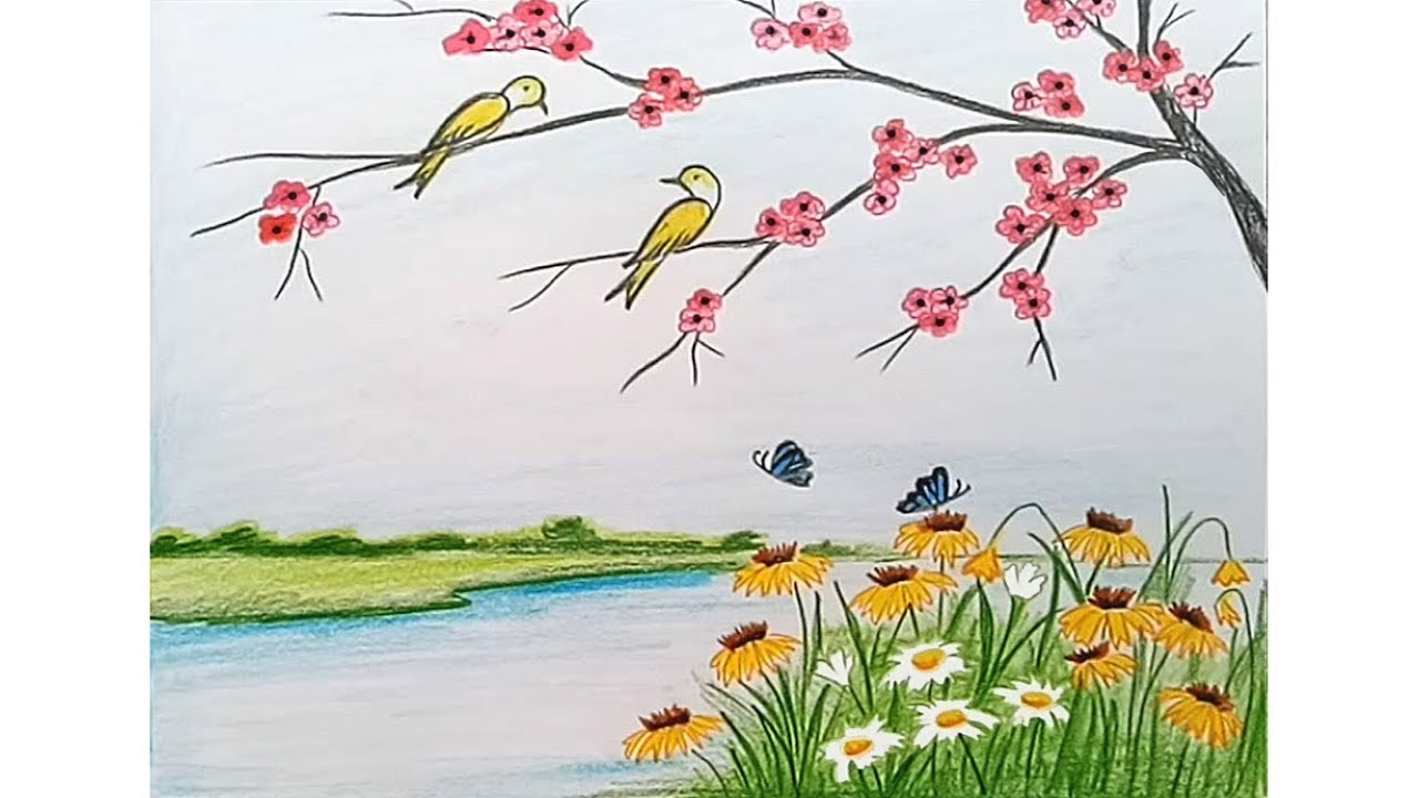 How to draw scenery of spring season step by step - YouTube