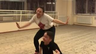 Russian girl dance with her child on trippy