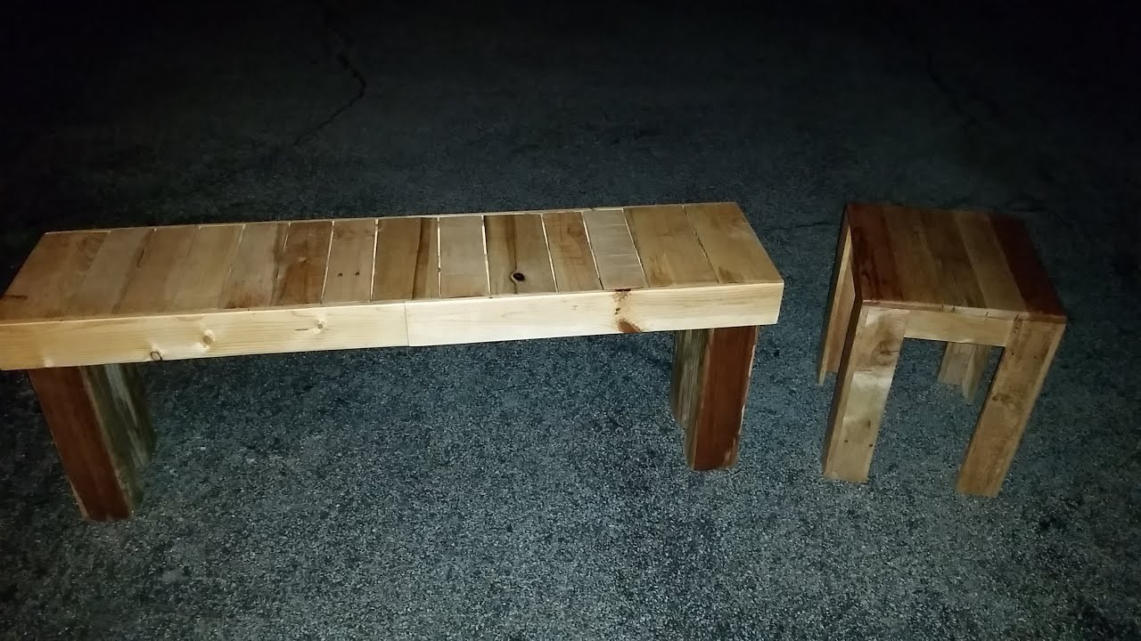 How To Build An End Table U0026 Bench From Pallets (2016 STERLING DAVIS UP  CYCLE /PALLET CHALLENGE)