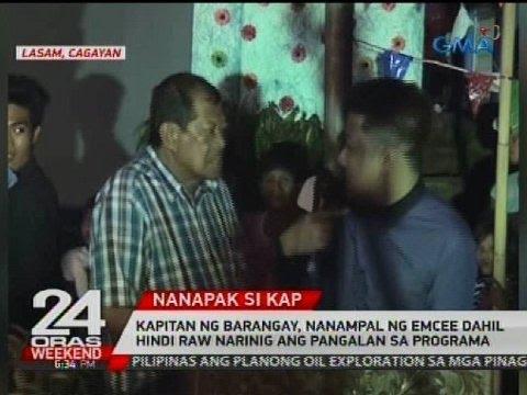 Kapitan ng barangay, nanampal ng emcee dahil hindi raw narinig ang pangalan sa programa