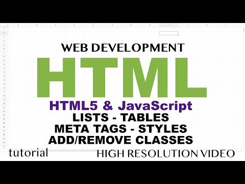HTML - Lists, Tables, Meta Tags, Styles, Add/Remove Classes - HTML5 & JavaScript - Part 3