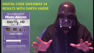 Digital Code Giveaway 14 Results with Darth Vader