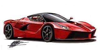 Realistic Car Drawing - Ferrari Laferrari - Time Lapse