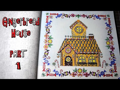 Coloring Johanna's Christmas Gingerbread House Part1 Prismacolor Colored Pencils