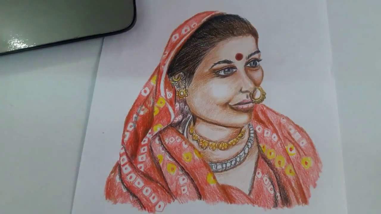 How to draw indian woman in traditional dress with pencil colours