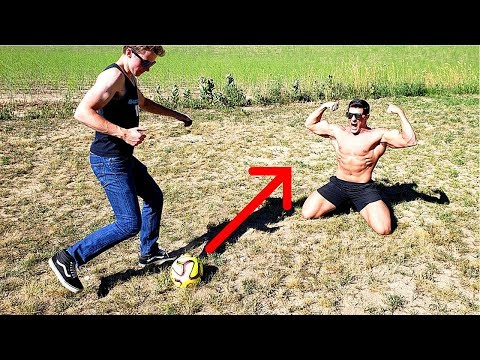Hit with a SOCCER BALL until I BLEED  Bodybuilder VS Crazy World Cup Football Challenge