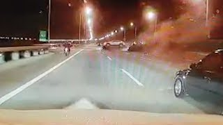 Horrific moment before a car plunges into sea on Penang Bridge