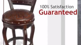 Spanish Heritage Swivel Barstool With Back - Set Of 3 - Lonestarwesterndecor.com