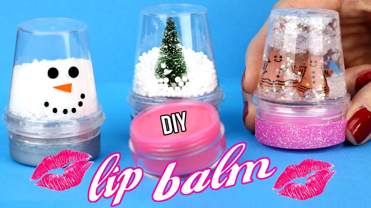 Diy lip balm easy how to make miniature snow globe lip for How to make simple crafts at home