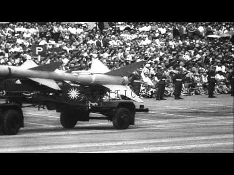 Premier Nikita Khrushchev visits Warsaw, s troops and missile parade. HD Stock Footage
