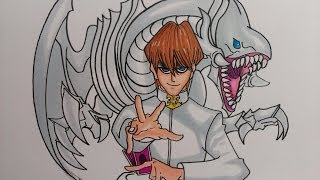 Prismacolor speed draw Seto Kaiba with Blue Eyes White Dragon, Yu-Gi-Oh!
