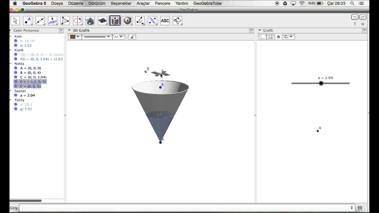 Geogebra Cone height-Volume
