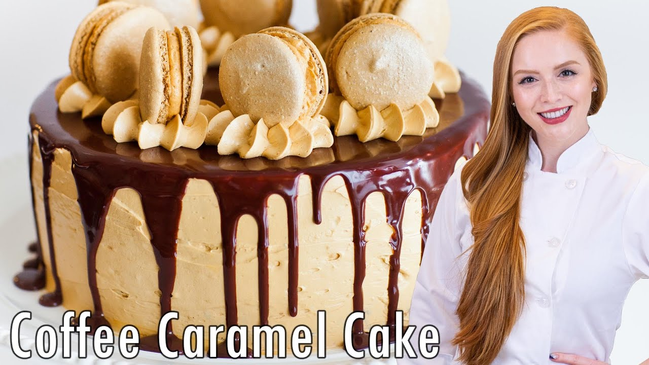 Coffee Caramel Cake with Chocolate Ganache - YouTube