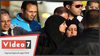 لحظة مغادرة جثامين شهداء قضاة العريش مطار ألماظة